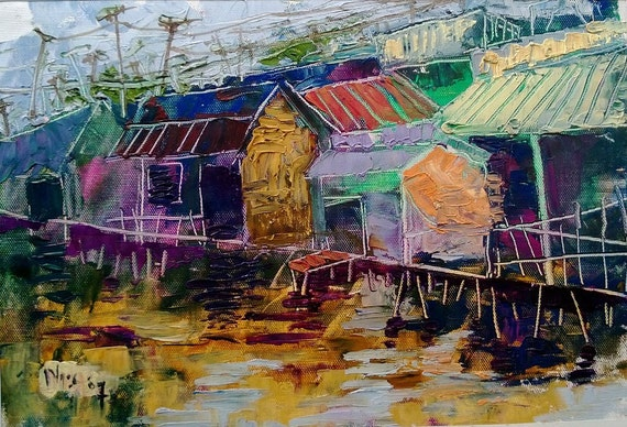 """ON STILTS 16x10"""" textured oil on canvas, live painting, Mekong Delta (Cần Thơ Province), original by Nguyen Ly Phuong Ngoc"""