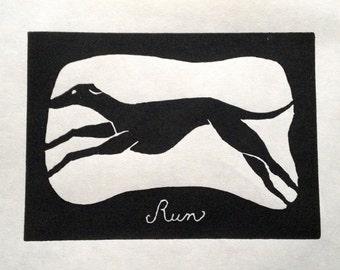 Greyhound Run Original Linocut Print