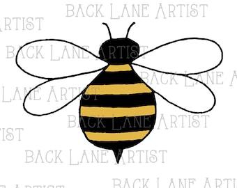Honey Bee Clipart Lineart Illustration Instant Download PNG JPG Digi Line Art Image Drawing LB41