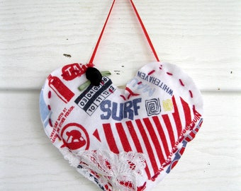 Heart Hanging Ornament, Small Fabric Heart, Americana, Surf, Handmade Heart Hanger, Beach House, Door Hanger, by mailordervintage on etsy
