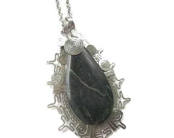 Guatemalan Jade Hand Formed and Hammered Stainless Steel Pendant Necklace - Handmade