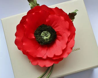 Fabric flower, veterans day, fabric poppy, poppy corsage, poppy jewelry, veteran poppy, Remembrance