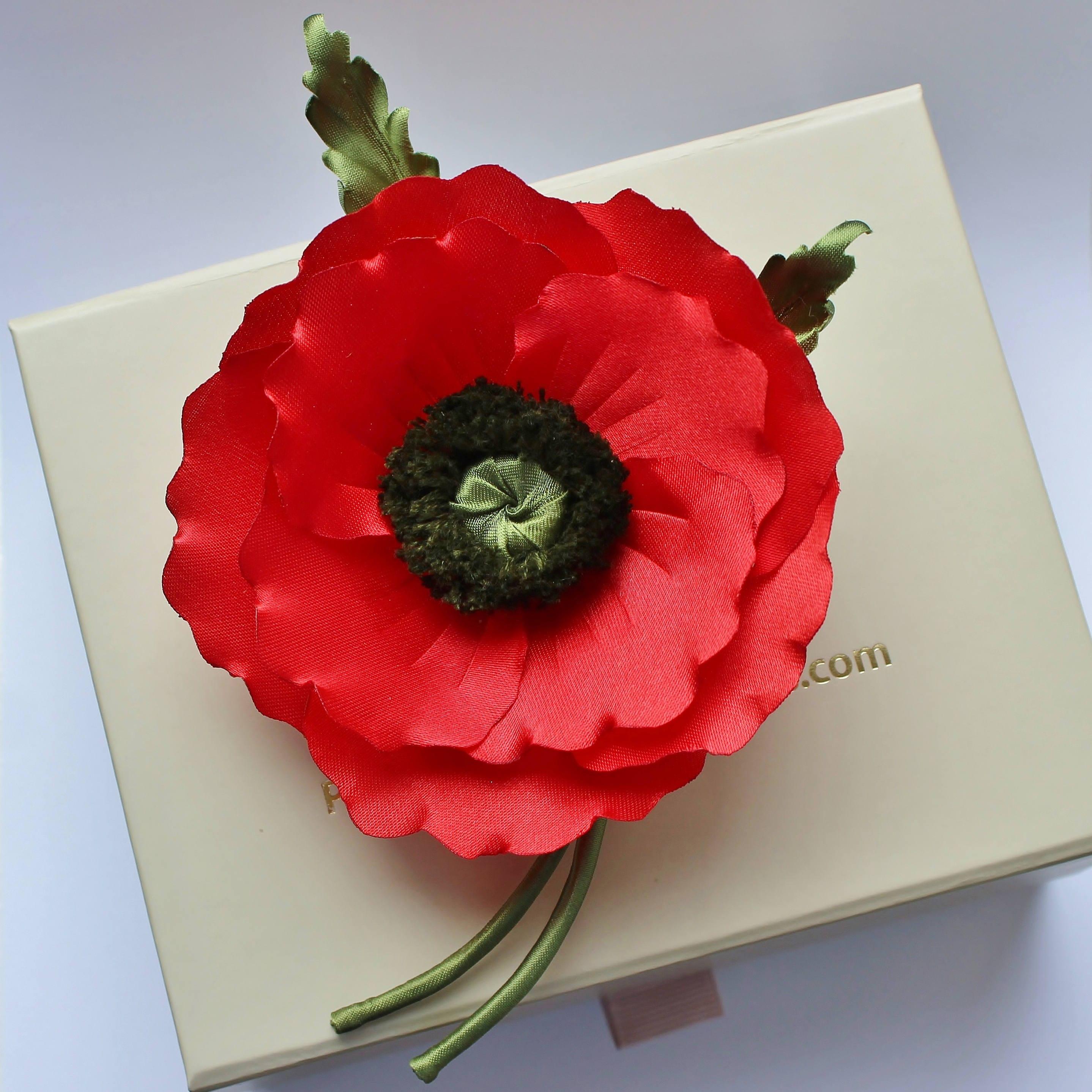 Fabric flower veterans day fabric poppy poppy corsage