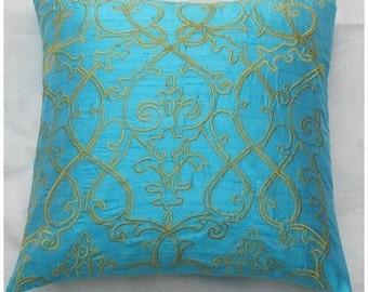Aqua Blue Filigree throw pillow cover 16X16 inch cushion cover