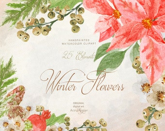 Winter Flowers WATERCOLOR Clipart - Christmas - digital flowers, DIY invites, Clip art, scrapbooking, wedding invitations, florals scrap