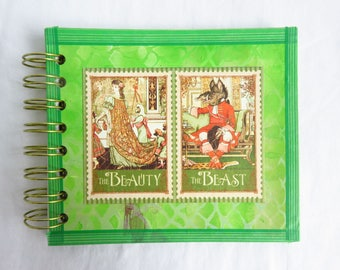 Beauty and Beast - Spiral bound art journal - cardstock, blank pages, travel journal, sketchbook, fairtytale, lime green, dragon scale art