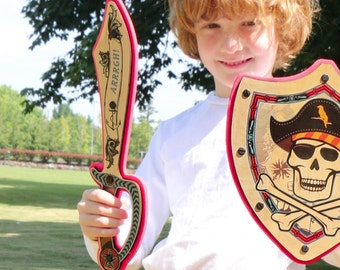 Wooden Pirate Sword for Kids - Handmade from Real Wood - (Red/Blue)