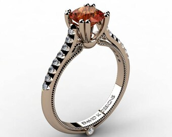 Classic Italian 14K Rose Gold 1.0 Ct Orange Sapphire Diamond Engagement Ring R1130-14KRGDOS