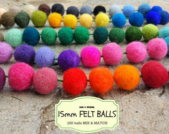 100 Wool Felt Beads, Mix and Match 15 mm/1.5 cm Wool Felt Balls, Multicolored Felted Balls in Bulk, Felted Beads, 100% Wool Felt Pom Poms