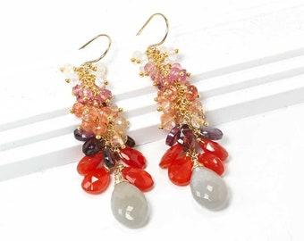 Grey Moonstone cluster earrings - Rainbow Moonstone, Pink Tourmaline, Sunstone, Spinel, Carnelian tassel earrings in Gold, Handmade jewelry