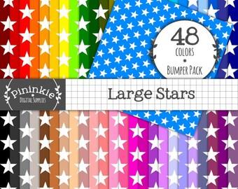 Large Star Digital Paper Pack, Printable Paper, Digital Scrapbooking, Commercial Use, Instant Download, Stars Digital Paper, St