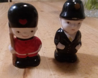 Vintage Japanese made salt and pepper shaker in British theme