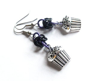 Cupcake earrings, Silver cupcake jewelry, Purple and black chainmaille earrings, Food jewelry, Dessert jewelry