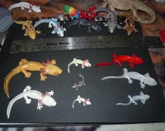 Axolotl Figurines, Fridge Magnets, Earrings, Charms and Pendants (Hand-painted or Plain)