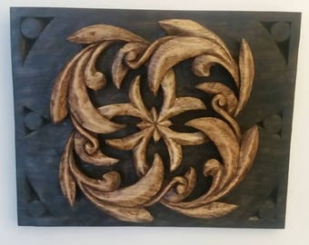 Swirling Leaves Wood Carving.