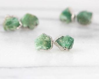 raw emerald studs | emerald earrings | may birthstone earrings | may birthstone studs | silver emerald studs | raw gemstone stud earrings