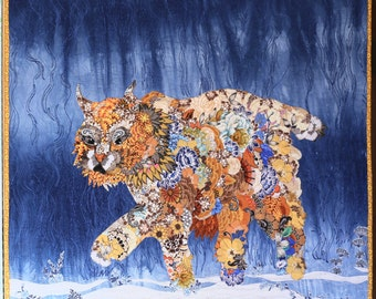 MarveLes BOBCAT PROWL Quilted Collage Wall hanging Montana Western Wildlife Glacier Park Floral Midnight Royal Blue Home Decor