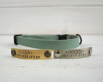 Green Cat Collar, Mint Leather cat Collar, Breakaway Cat Collar, Cat Collar Breakaway, Dog Collar, Small Dog Collar, Personalized dog collar