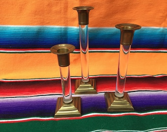 Lucite and  Brass Candlestick Holders. Set of Three