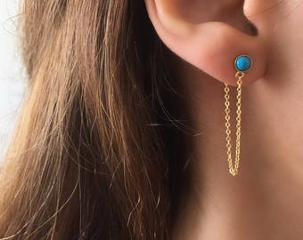 Dainty Turquoise earrings. Turquoise Stud Earrings. Gold Threader Earrings. Dainty Chain Earrings. Sterling Silver Turquoise Studs
