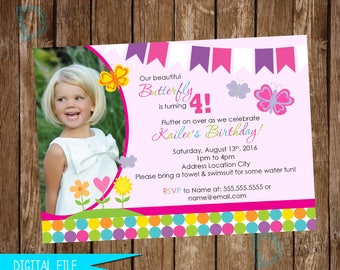 Butterfly Invitation, Butterfly Birthday Invitation, Spring Birthday Invitation, Butterfly Birthday Party, Printable Invitation, Butterflies
