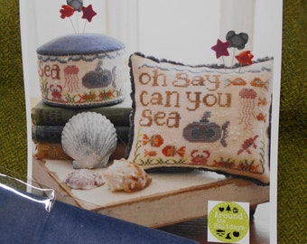 """Cross Stitch - """"Oh Say Can You Sea"""" Pattern and Velveteen by Hands On Designs"""