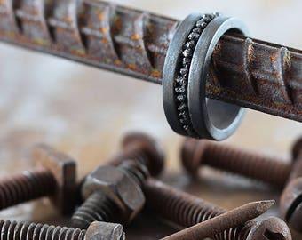 Mens Wedding Band Black Uncut Diamond Oxidized Rustic Silver Ring