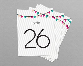 Party Flags Wedding & Event Table Numbers, Printable Table Numbers 1-30, Instant Download
