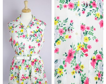 Vintage 1970's Bright Pink Floral Sleeveless Smock Top Blouse XL