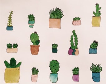 cacti drawings - can be made into cards or prints // cacti collection