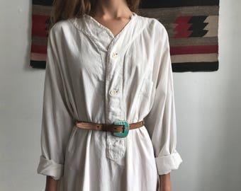 Antique 1910s White Cotton Sleepshirt/Dress