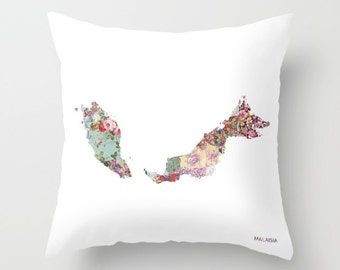 MALAISIA map pillow   Pillow Painting   Malaisia pillow   Painting of Malaisia   Pillow map   Throw Pillow   Flowers compositions
