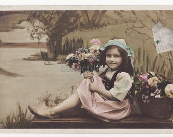 Cute Barefoot Edwardian Little Girl Holding Flower Bouquet, 1910s retro children vintage antique photo postcard