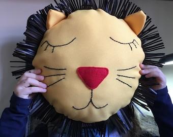 lion pillow, wall hanging, kids room decor, kids gift, wall decor, kids room decoration, safari decor, safari hanging, lion cushion