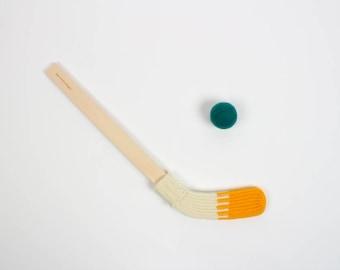 Mini Hockey Stick - yellow and cream