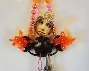 Costume Junk Jewelry Art, Artdoll, Angel Wall Decor, Inspirational Gift, Original Found Object, Metal Mixed Media, Girlfriend Gift, BFF gift