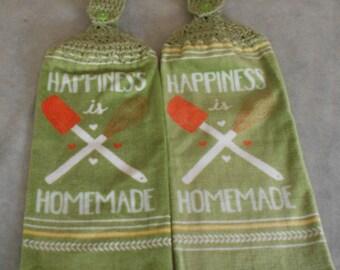 Crocheted Top Sage Green Hand Towel -  Happiness is Handmade Granny Handle Top Towel - Sage Kitchen Hand Towel Set -Sage Hanging Towel