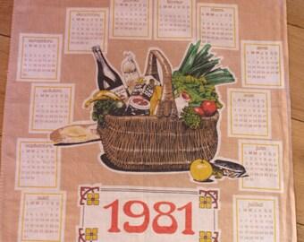 french vintage printed cotton Tea towel calendar from 1981, horses, tea towel calender, kitsch
