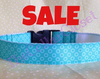 Turquoise Bubble Spotty Dog Collar SALE