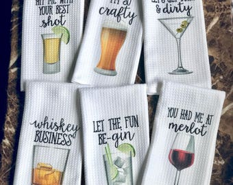 Funny Dish Towels for Hostess - Bar Towels - Alcohol Gift Set - Funny Kitchen Decor - Funny Housewarming Gift - Song Lyric Towels