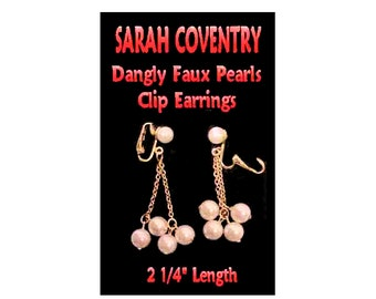 Vintage Faux Pearl and Chain Dangly Clip Earrings Signed Sarah Coventry * U3641  Dangle Earrings, Clip Ons, Vintage Clip Ons