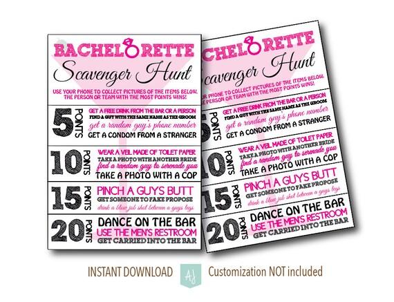 Bachelorette Party Scavenger Hunt Game-Bridal Shower Game