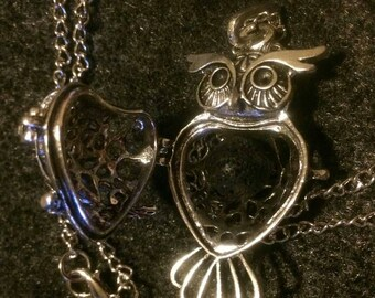 Owl locket with lava bead