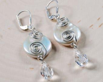 Pearl & Crystal Spiral Wire Earrings