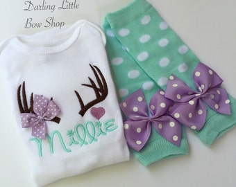 Baby Girl Outfit -- Daddy's Little Dear -- adorable antler bodysuit with matching leg warmers -- Take Home Outfit