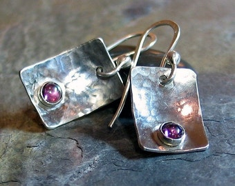 Sterling Silver Earrings with Pink Garnet - Raspberry Ice Earrings