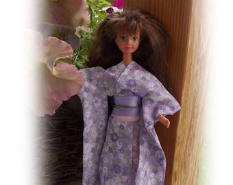 Teen Sister Yukata-Summer Cotton Kimono & Obi. Japanese Summer Kimono will fit Teen Sister Dolls the size of  Teen Skipper