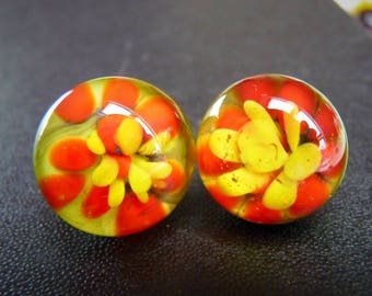 Glass earrings with glass flower implosion