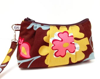 Wristlet Clutch Purse  - Yellow Pink Green Flowers on Brown