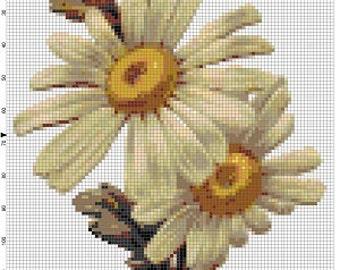 Daisies - Vintage Cross Stitch Patterns - Instant Download